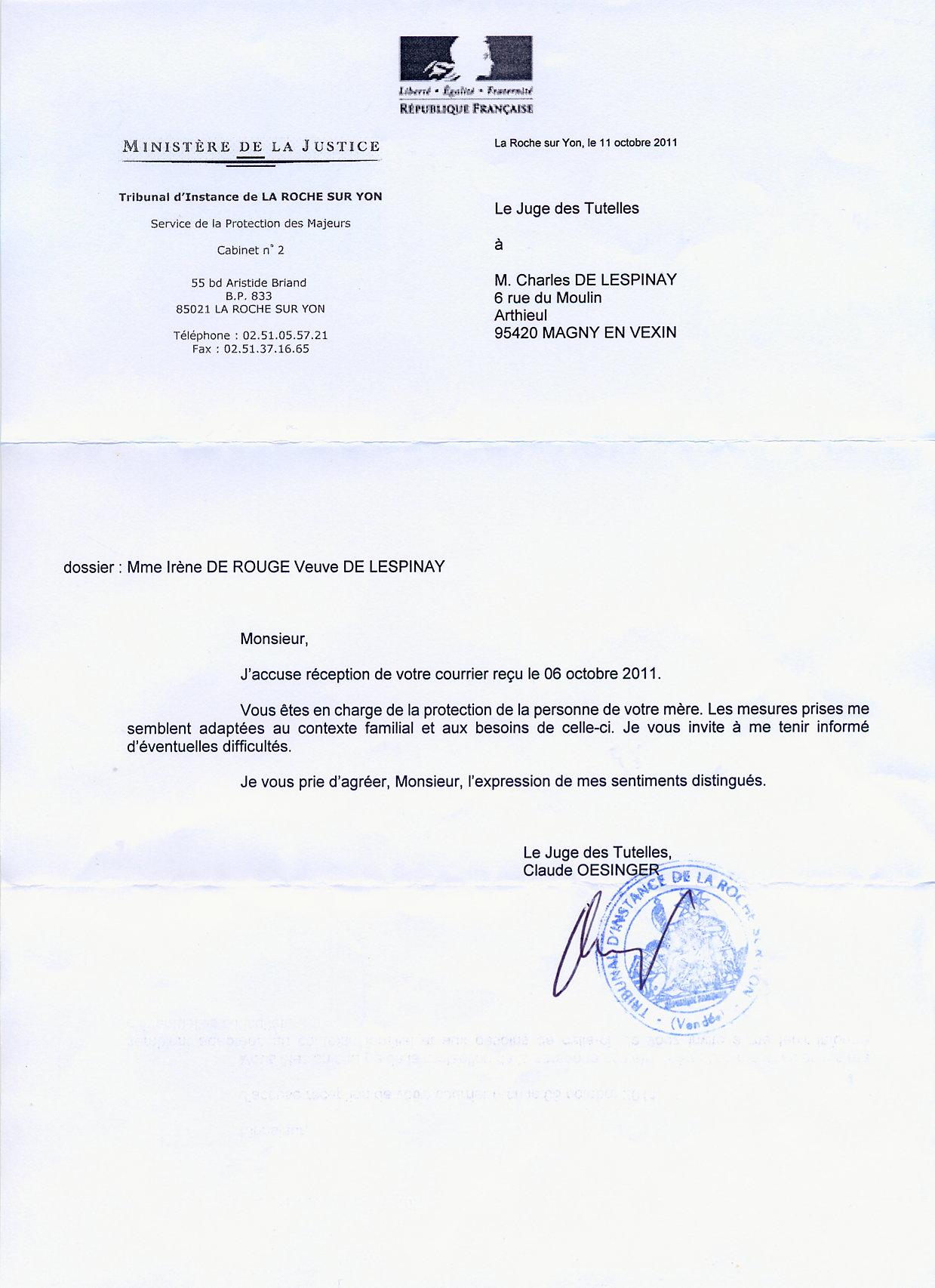 modele de lettre pour mise sous tutelle 2011 – Un juge corrompu, Claude Oesinger, accorde la tutelle de ma  modele de lettre pour mise sous tutelle