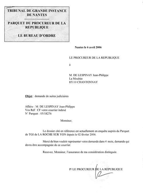 réponse du procureur à ma plainte vs castagné