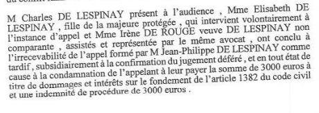 Cour d'appel Poitiers, défense Charles cf tutelle janvier 2013