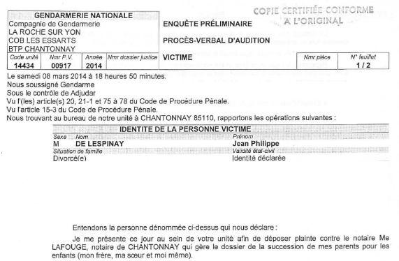 Plainte JP contre Lafouge (extrait)