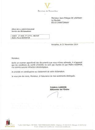 2ème réponse du bâtonnier de Versailles cf Koerfer