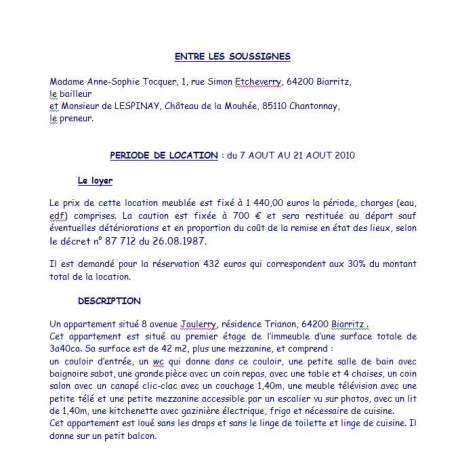 Contrat de location Tocquer Biarritz 1ère page