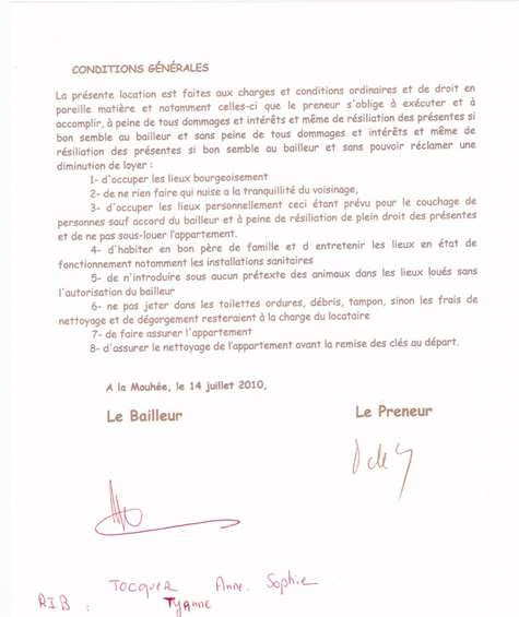 Contrat de location Tocquer Biarritz