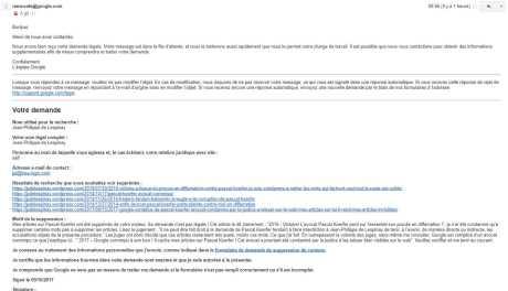 Mail récépissé requête JPL à Google cf Koerfer
