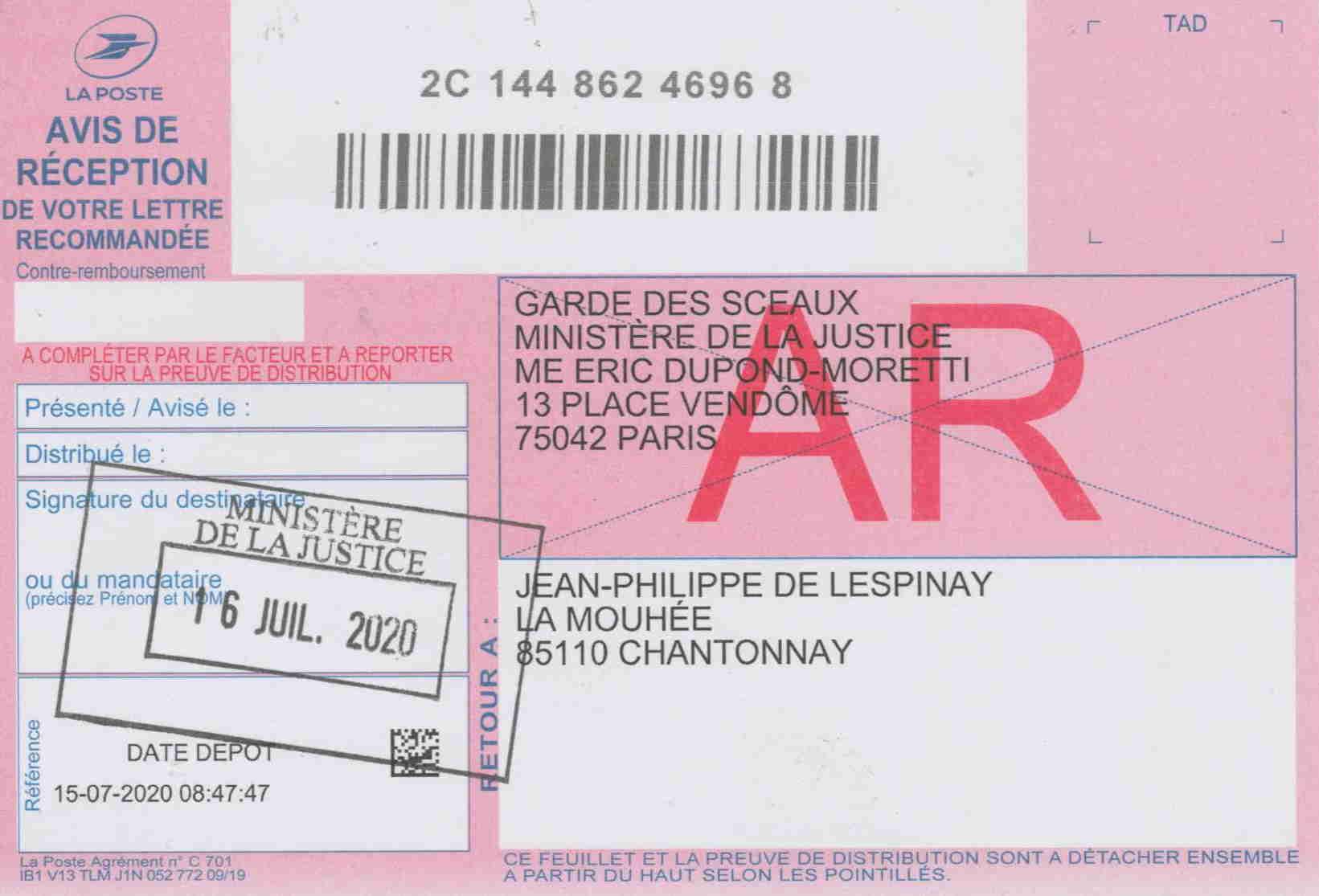 AR lettre JP à Garde des Sceaux, Me Dupond Moretti 16.07.2020