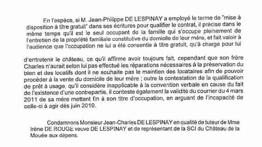 Extraits jugement expulsion attestant de l'entretien fait par JPL et du non entretien par Charles + condamnation