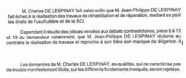 Extraits jugement expulsion attestant que JPL réclame vainement à Charles l'entretien de la Mouhée 2