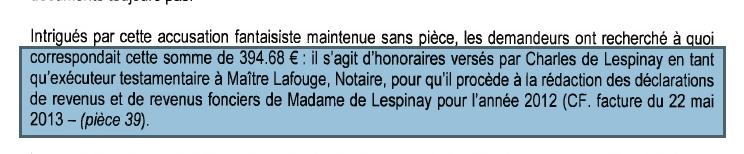 Mensonge éhonté sur les 394,68 € versés par Lafouge à Charles (leurs conclusions mai 2019)