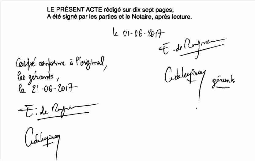 Signatures nouveaux statuts 2017 'dont celle de Lafouge'