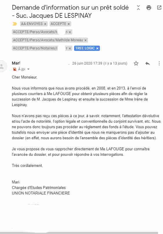 Unofi se plaint de l'inaction de Lafouge cf argent de Papa immobilisé chez eux, 26.06.2020